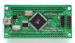 AVR ATmega1280 TinyBoard, ATmega1280 USB Development Board, USB Bridge, RS232, RS485, external RAM